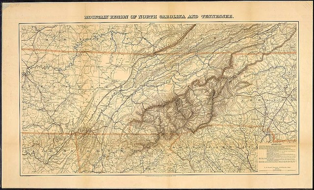 Mountain Region of North Carolina and Tennessee. Compiled by W. L. Nicholson & A. Lindenkohl, 1863. With corrections to May 1864. U.S. Coast Survey, . . . Drawn by A. Lindenkohl, J. Lindenkohl & Chas. G. Krebs, Lith.