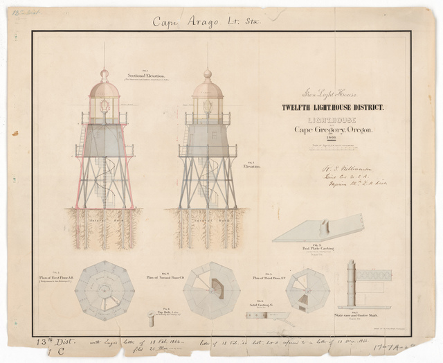 Elevation and Detail Drawing for the Lighthouse at Cape Arago, Oregon