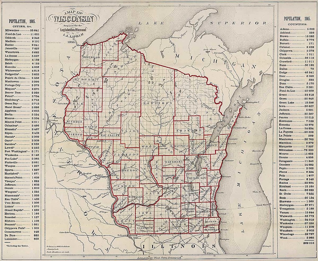 Map of Wisconsin prepared for the Legislative Manual with 1865 city and county population