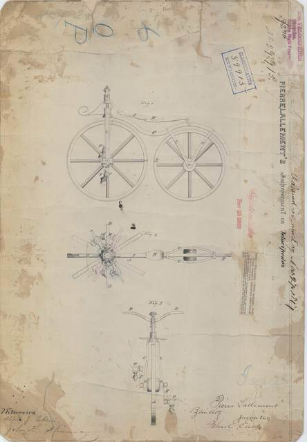 Patent Drawing for Pierre Lallement's Improvement in Velocipedes
