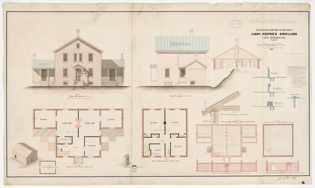 Elevation, Plan and Detail Drawing for the Lighthouse Dwelling at Cape Mendocino, California