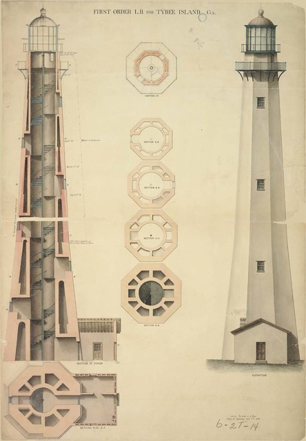 Elevation, Section, and Plan of First Order Lighthouse at Tybee Island, Georgia