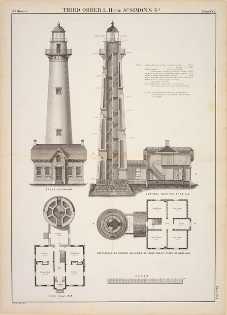 Front Elevation, Plan, and Vertical Section of Saint Simon's Lighthouse, Georgia