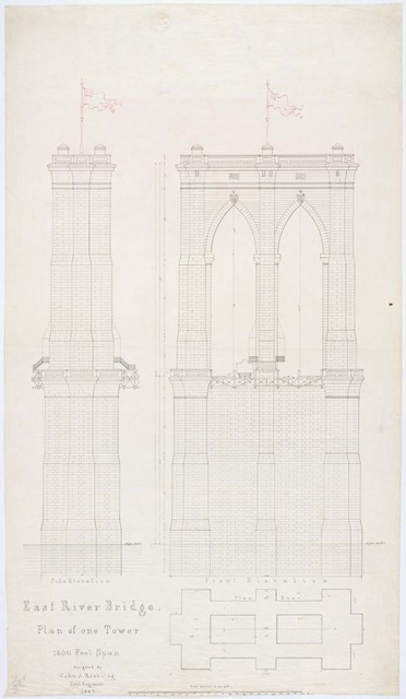 Plan of One Tower for the East River Bridge
