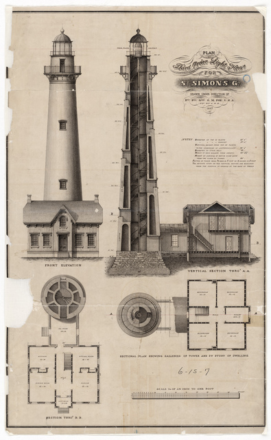 Section, Elevation and Plan Drawing for the Lighthouse at Saint Simon's, Georgia