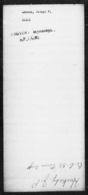 Adcock, Joseph F - State: [Blank] - Year: [Blank]