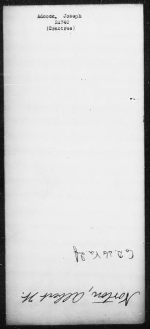 Adcock, Joseph - State: [Blank] - Year: [Blank]