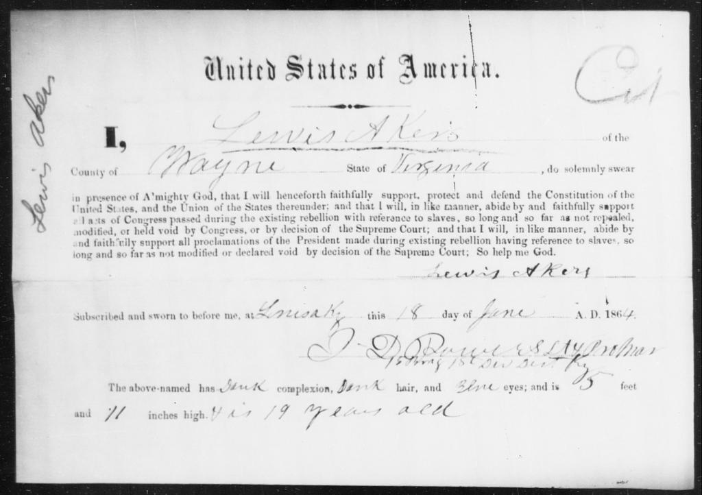Akers, Lewis - State: Virginia - Year: 1864