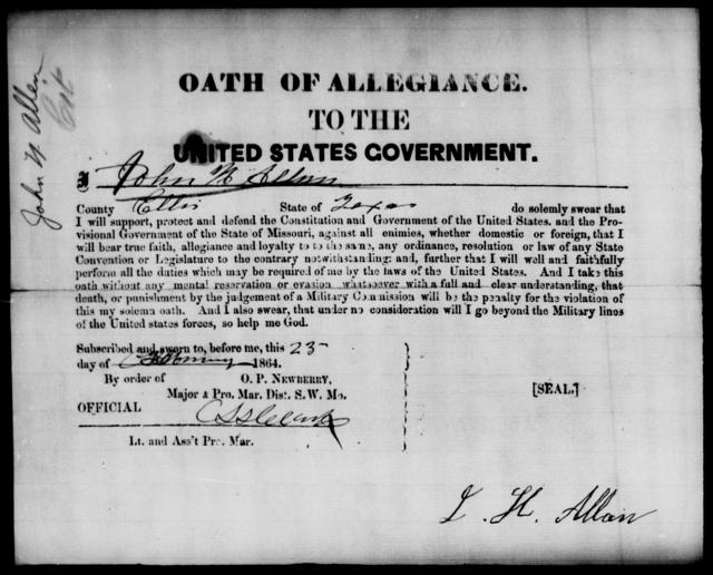 Allen, John H - State: Texas - Year: 1864
