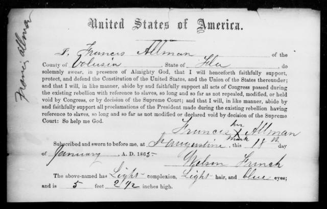 Allman, Francis - State: Florida - Year: 1865