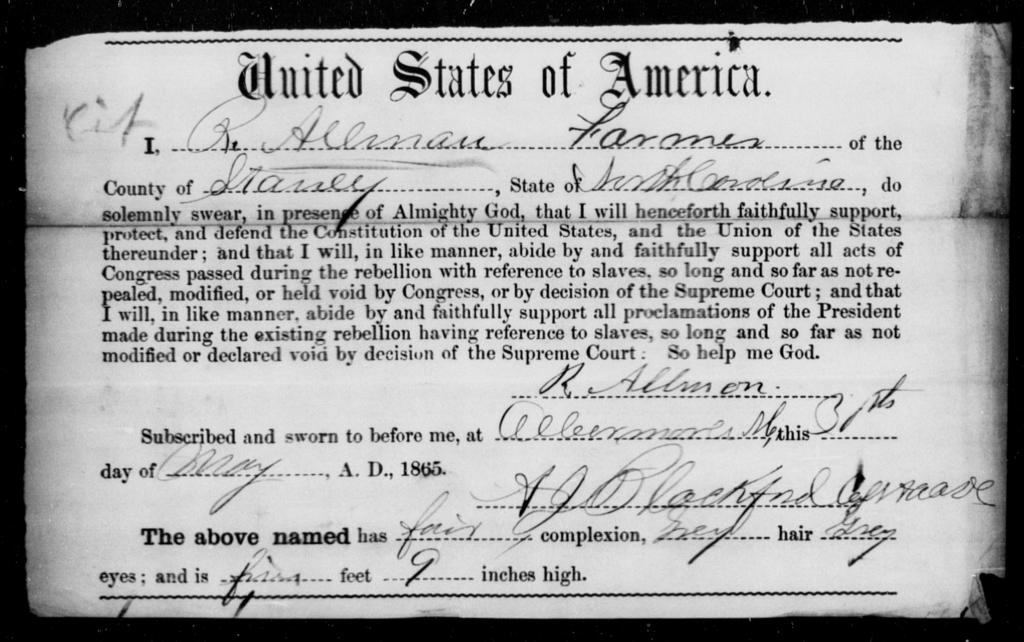 Allman, R - State: North Carolina - Year: 1865