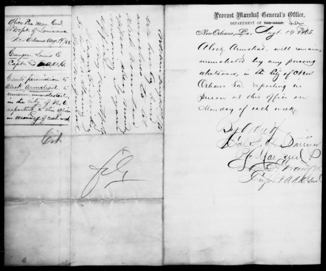 Armstead, Aleck - State: Louisiana - Year: 1865