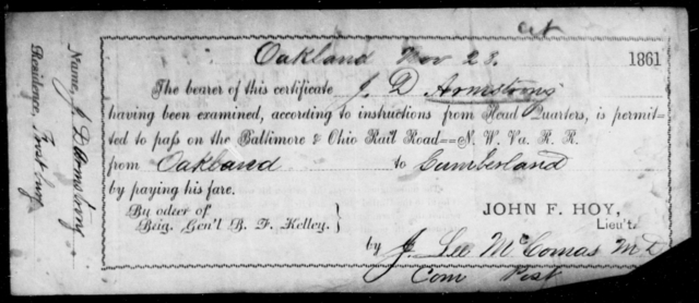 Armstrong, J D - State: [Blank] - Year: 1861