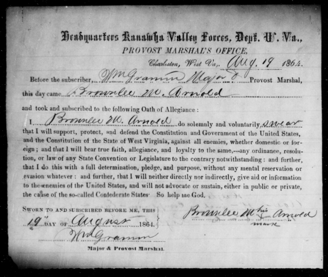Arnold, Brownlee M - State: West Virginia - Year: 1864