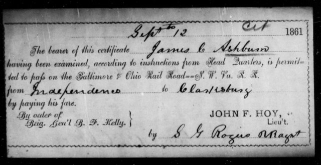Ashburn, James C - State: Ohio - Year: 1861