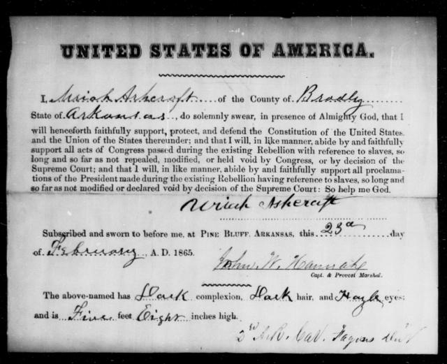 Ashcraft, Uriah - State: Arkansas - Year: 1865