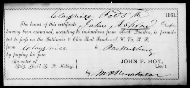 Ashford, John - State: Ohio - Year: 1861