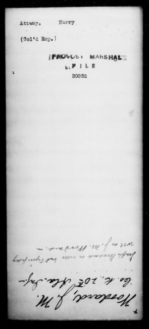 Attway, Harry - State: North Carolina - Year: 1865
