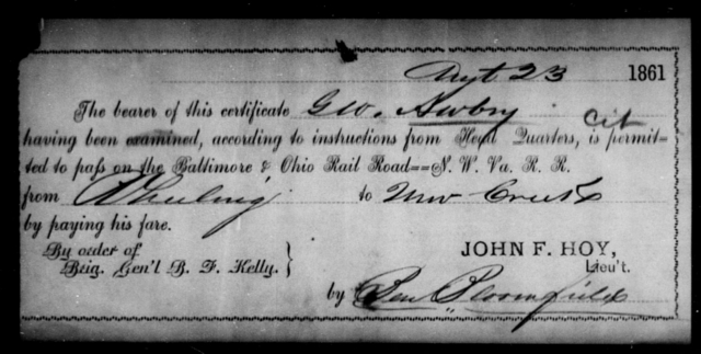 Awbry, G W - State: Ohio - Year: 1861
