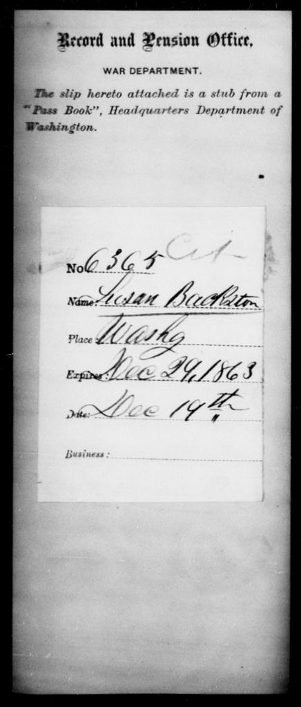 Backston, Susan - State: Washington - Year: 1863