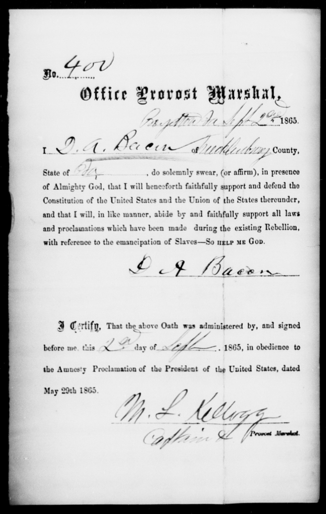 Bacon, D A - State: Virginia - Year: 1865