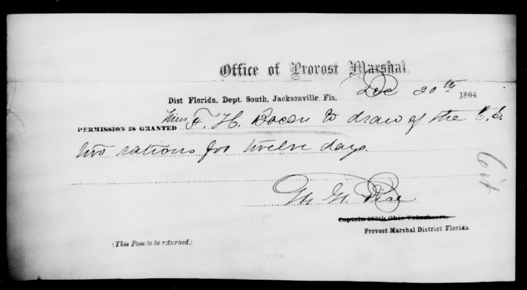 Bacon, F H - State: Florida - Year: 1864