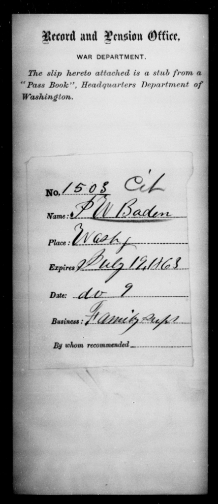 Baden, P W - State: Washington - Year: 1863