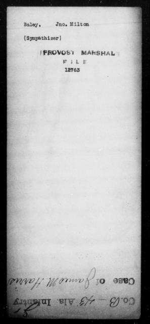 Baley, Jno Milton - State: [Blank] - Year: [Blank]