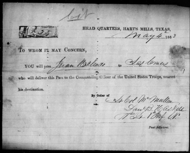 Baliado, Juan - State: Texas - Year: 1863