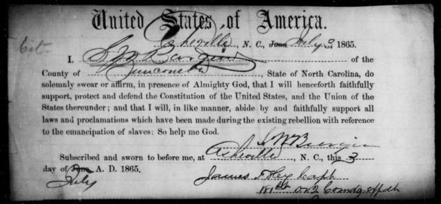 Bargin, S W - State: North Carolina - Year: 1865