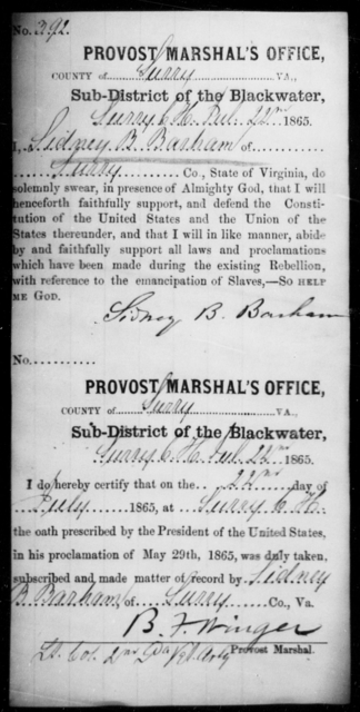 Barham, Sidney B - State: Virginia - Year: 1865
