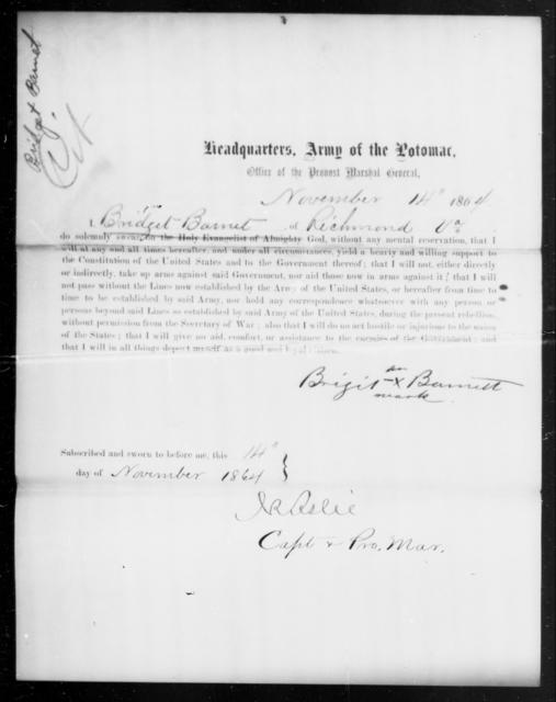 Barnet, Bridget - State: Virginia - Year: 1864