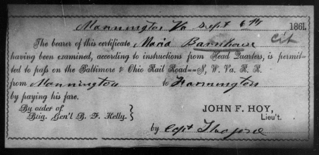Barnhouse, Maria - State: Virginia - Year: 1861