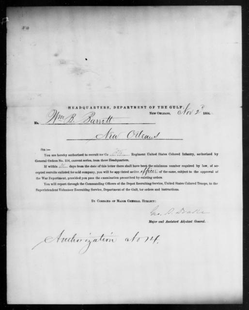 Barrett, Wm B - State: [Blank] - Year: 1864