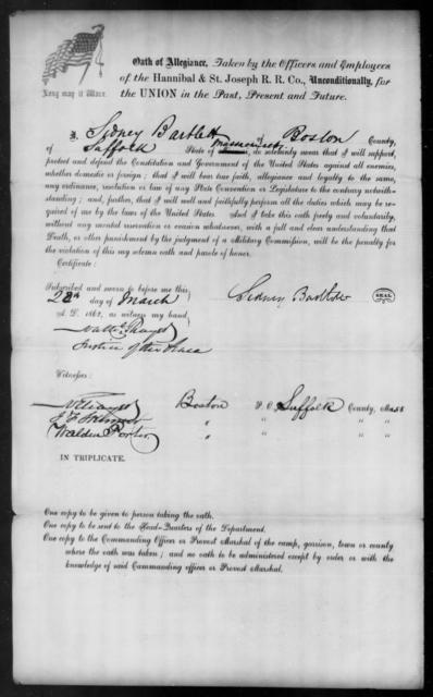 Bartlett, Sidney - State: Massachusetts - Year: 1862