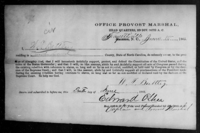 Battley, W T - State: North Carolina - Year: 1865