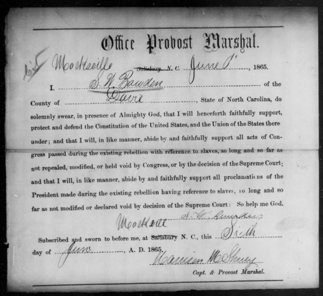 Bawden, S W - State: North Carolina - Year: 1865