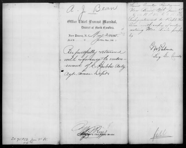Bean, A J - State: North Carolina - Year: 1865