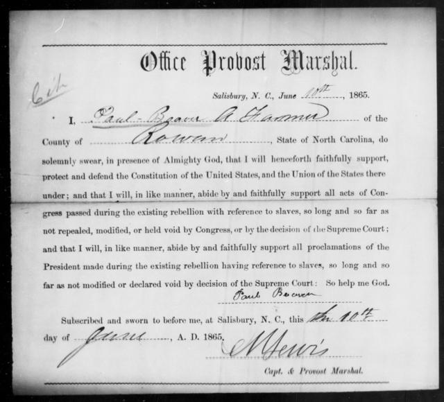 Beaver, Paul - State: North Carolina - Year: 1865