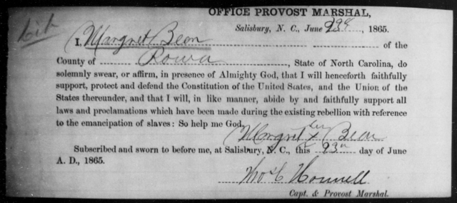Been, Margret - State: North Carolina - Year: 1865