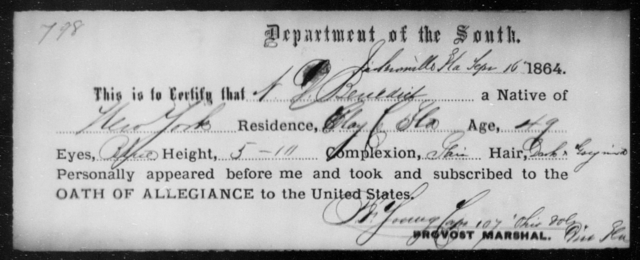 Benedict, N P - State: Florida - Year: 1864