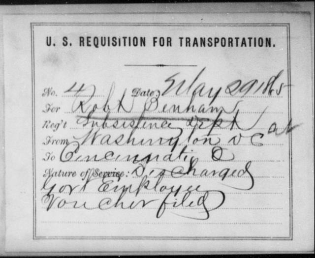 Benham, Robt - State: Washington - Year: 1865