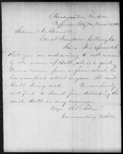 Bennett, Samuel C - State: Missouri - Year: 1862
