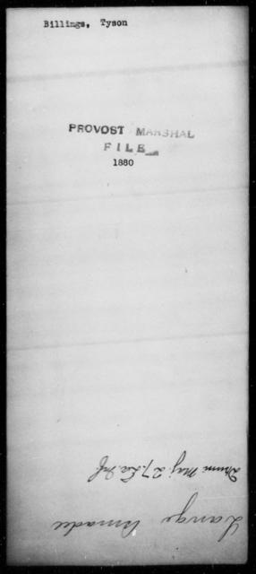 Billings, Tyson - State: [Blank] - Year: [Blank]