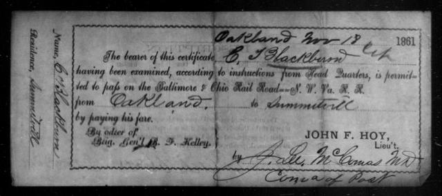 Blackburn, C T - State: Ohio - Year: 1861