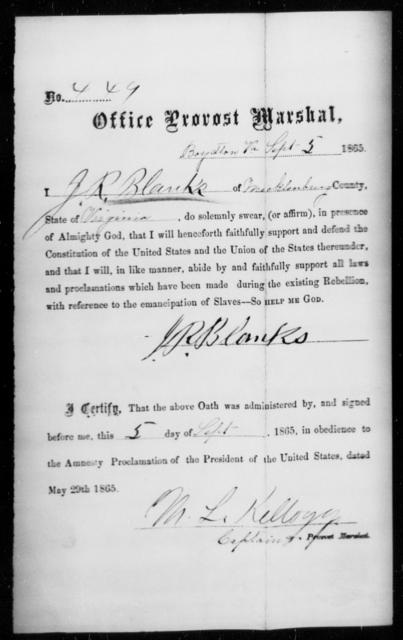 Blanks, J R - State: Virginia - Year: 1865
