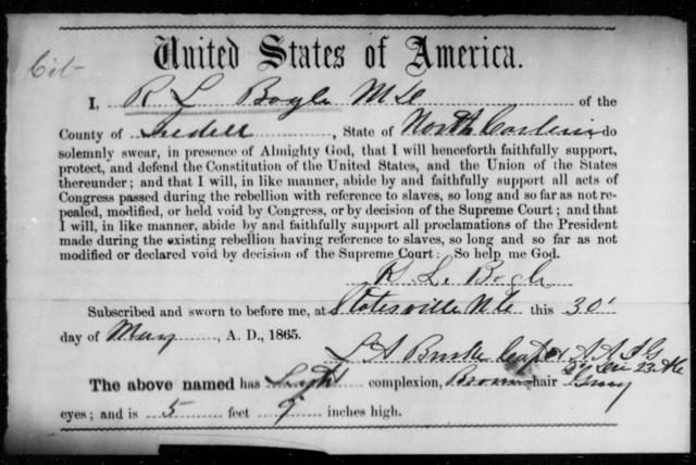Bogle, R L - State: North Carolina - Year: 1865