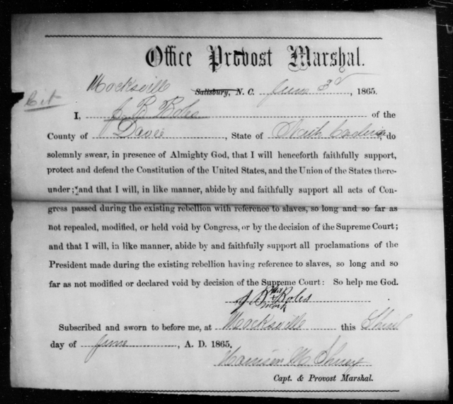 Boles, J B - State: North Carolina - Year: 1865