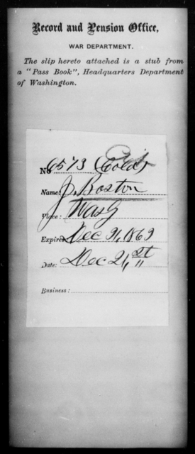 Boston, J - State: Washington - Year: 1863