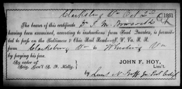 Boward, J M - State: Ohio - Year: 1861